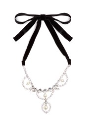 Miu Miu Crystal And Faux Pearl Embellished Necklace