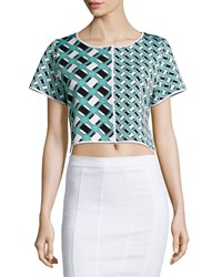 Zac Zac Posen Ines Geometric Print Crop Top Lagoon Black White