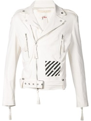 Off White Striped Logo Print Biker Jacket
