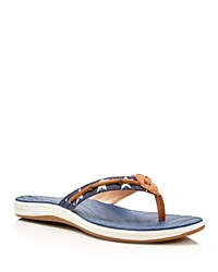 Sperry Seabrook Wave Flip Flops Red White Blue