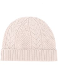 N.Peal Cable Knit Beanie Nude Neutrals