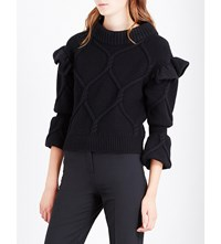 Burberry Ruffle Trim Cable Knit Wool And Cashmere Blend Jumper Black