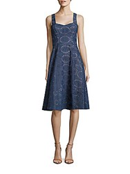 Shoshanna Cut Work Cotton Dress Denim