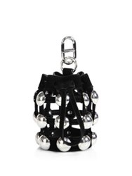 Alexander Wang Mini Roxy Studded Suede Drawstring Keychain Black White