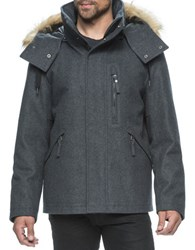 Marc New York Fremont Pressed Wool Hooded Jacket Charcoal