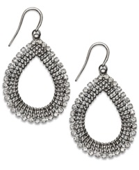Alfani Hematite Tone And Crystal Open Teardrop Earrings