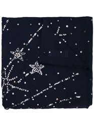 Janavi Cashmere Trip To The Galaxy Scarf Blue