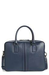 Men's Tod's 'Medium Double Stripe' Textured Leather Briefcase Blue Navy