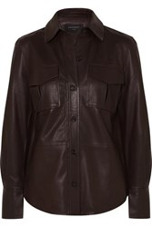 Equipment Garcella Leather Shirt Brown
