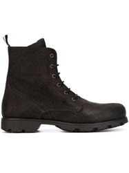 Moncler Lace Up Military Boots Brown