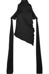 Ellery The Lizzies Cold Shoulder Draped Stretch Silk Top Black