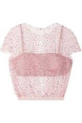 Reem Acra Woman Cropped Embellished Tulle Top Blush
