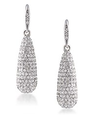 Carolee Lincoln Center Long Teardrop Pave Earrings Silver