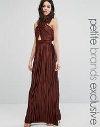 True Decadence Petite Allover Pleated Cross Front Open Back Maxi Dress Copper Orange