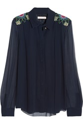 Matthew Williamson Embroidered Silk Georgette Top Blue