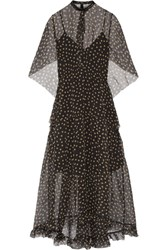 Petar Petrov Leather Trimmed Polka Dot Silk Organza Maxi Dress Black