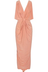 T Bags Draped Stretch Jersey Maxi Dress Pink