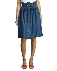 Neiman Marcus Paper Bag Waist Button Front Skirt Blue