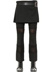 Alexander Mcqueen Wool Crepe Kilt With Leather Belt