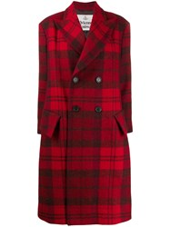 Vivienne Westwood Anglomania Double Breasted Tartan Coat Red
