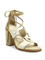 Rag And Bone Eden Leather Lace Up Block Heel Sandals Ivory Navy