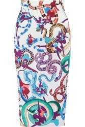 Mary Katrantzou Printed Stretch Scuba Pencil Skirt Purple