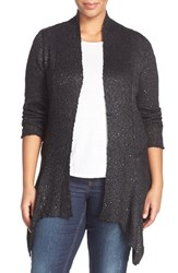 Plus Size Women's Bb Dakota 'Inga' Sequin Knit Open Front Cardigan Black