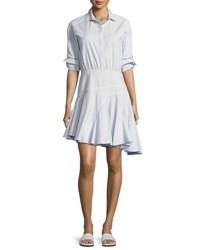 Grey By Jason Wu Long Sleeve Asymmetric Striped Cotton Shirtdress Baby Blue Multi