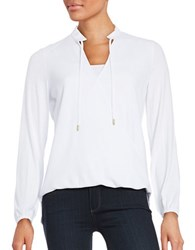 Michael Michael Kors Petite Textured Mock Wrap Long Sleeve Blouse White