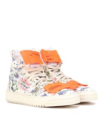 Off White Floral Leather Sneakers Multicoloured