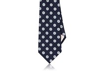Fairfax Men's Floral Medallion Silk Necktie Navy White Light Blue