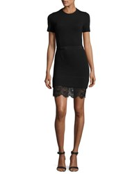 Carven Short Sleeve Ponte Lace Trim Sheath Dress Black