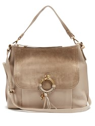 See By Chloe Hana Large Leather And Suede Shoulder Bag Light Grey