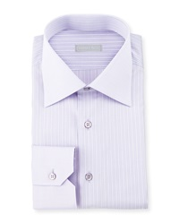 Stefano Ricci Striped Barrel Cuff Dress Shirt Lavender Blue