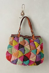Anthropologie Woven Mosaic Carryall Red
