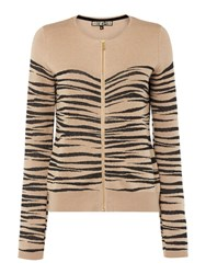 Biba Patterned Zip Up Jumper Taupe