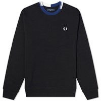Fred Perry Authentic Abstract Collar Crew Sweat Black