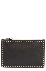 Valentino Large Rockstud Pebbled Leather Pouch