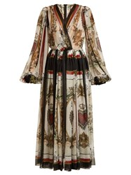 Dolce And Gabbana Queen Of Hearts Floral Print Silk Dress Multi