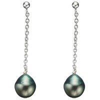A B Davis Tahitian Black Pearl Chain Drop Earrings