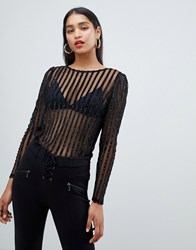 Morgan Embellished Stripe Sheer Top In Black