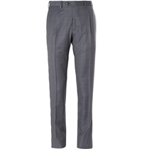 Brioni Checked Super 120S Wool Trousers Gray