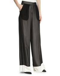 Derek Lam Double Layer Chiffon Wide Leg Tuxedo Pants White Black