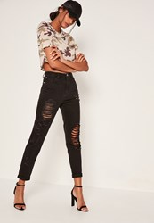 Missguided Black Ripped And Distressed Mom Jeans