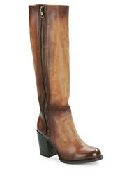 Freebird Beau High Heel Knee High Distressed Leather Boots Cognac
