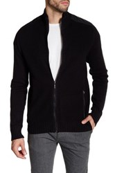 Kenneth Cole Ribbed Knit Full Zip Contrast Trim Sweater Black