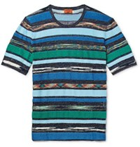 Missoni Slim Fit Space Dyed Terry Panelled Cotton And Linen Blend T Shirt Blue