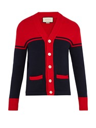 Gucci Tiger Embroidered Wool Cardigan Blue Multi