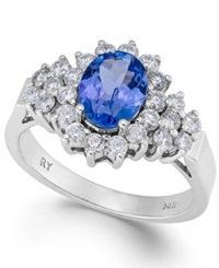 Macy's Tanzanite 1 1 10 Ct. T.W. And Diamond 5 8 Ct. T.W. Ring In 14K White Gold