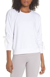 Zella Gather Sleeve Sweatshirt White